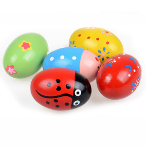 Bebê de Easter de madeira Egg Brinquedo bonito Maraca madeira Educacional Toy Orff instrumentos musicais coloridos Brinquedos Educativos Z0243