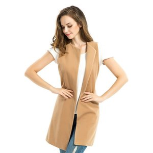 Winter Waistcoat Ladies Jacket Wool Blend Vest Spring Vest Long Camel Sleeveless Cardigan Sans Manches Women Plus Size Coat