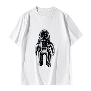 20SS Erkek T Shirt Yumuşak Pamuk Kısa Kollu Moda Günlük Astronot Baskı Erkekler Kadınlar Tees Siyah Beyaz