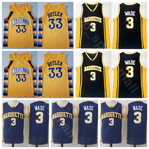 College Marquette Golden Eagles Basket 33 Jimmy Butler Jersey Dwyane Wade 3 Uomini Cucita Università Nero Giallo Uniformi Qualità superiore