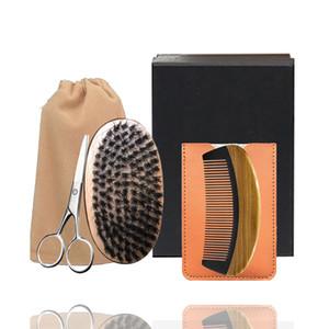 Clássico 5in1 javali cerdas Beard Brush, chifre de madeira Pente Bigode Scissor Box Set Homens Facial Cuidados composição do cabelo Cuidados Styling Grooming aparamento