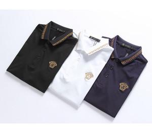 Рубашки поло для мужчин Летняя мода Дизайнерские топы с рисунком Мужские повседневные отворотом Сплошной цвет Роскошные поло