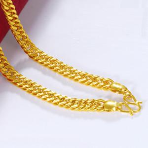 Beliebter 8mm glänzender Doppelknopf vergoldete Chef Halskette Vietnam vergoldeten aggressiven Halskette Mann