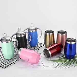Bambino Sippy Cup 8 colori a forma di diamante in acciaio inox thermos isolta Kids Cup Con Vino maniglia birra Occhiali 10pcs LJJO6808