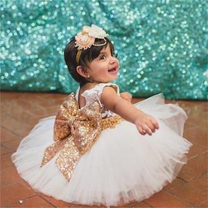 Yeni Yaz Stili Kız Bebek Vaftiz Elbise Dantel payetli elbiseler Moda Yenidoğan Halter Doğum Giyim 1 2 Yıl Bebe Giyim Y200102