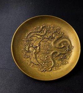 Antike Konvoluts antike Kupferplatte Dekoration Drachen und Phönix Platte Drachen fliegen Phoenix Tanzplatte Gericht