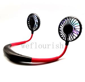 Vente en gros suspendue mains libres USB mini portable noir avec ventilateur de coud rouge