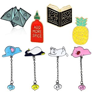 Cute Sleeping Kitty Elephant Penguin Pig Hard Enamel Brooches Pins Tiny Animals Tie Brooches Jewelry Women Best Gift Wholesale Free Shipping