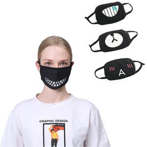 Máscara Facial de poeira de algodão máscara dentes do urso Imprimir engraçado Emoji Designer lavável Adulto Mulheres Homens Boca Máscara Party Favor Preto