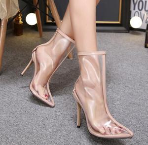 Новый стиль Популярные Высокие каблуки Ботильоны ПВХ прозрачная задняя молния сплошной цвет Toe моды Остроконечные ботинка Четкие обувь сексуальные насосы