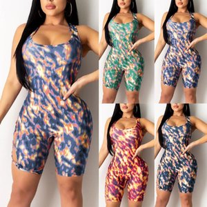 Ladies Yoga Fashion Sports Band Gradient Print Set Sleeveless Jumpsuit Sexy Bodysuit O-Neck Bodysuit Yoga Set Summer