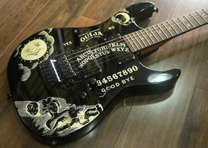 Custom KH-2 2009 Ouija Black Kirk Hammett Signature Poupée inversée pour guitare électrique, Floyd Rose Tremolo, Écrou de blocage, 24 frettes Extra Jumbo