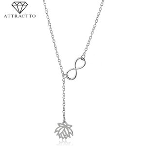 ATTRACTTO Trendy Gold Lotus Flower Necklaces&Pendants For Women Chain Long Necklace Charms Jewelry DIY Necklace Female SNE190009