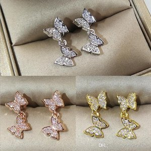 2019 New Arrival Luxury Jewelry 925 Sterling Silver&Rose Gold Fill Pave 5A White Clear Cubic Zirconia Butterfly Women Earring for Lovers