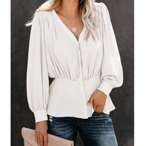 Tops mulheres e blusas manga comprida Lady Cardigan com o botão Moda Mulher Blusas 2019 New lapela camisa Turn Down Collar Blusa