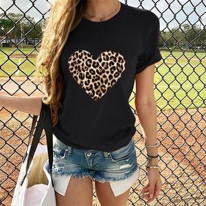 Em forma de coração Dia Casual manga curta T-shirt O pescoço Pullover mulheres coração da cópia do leopardo camiseta Namorados Tops camisetas Mujer