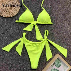 Neon Green Knotted Bikini Female Swimsuit Women Swimwear Two-pieces Bikini set Bather Halter Bathing Suit Swim Wear V1296