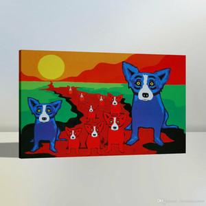 vA. Di alta qualità dipinta a mano HD Stampa di arte astratta a olio animale moderna pittura Blue Dog su tela di canapa di arte della parete del Ministero Deco A37