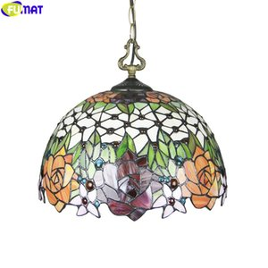 FUMAT Tiffany Style Pendant Lamp Single Head Droplight 16 Inch Hanging Light Fixture Handcraft Art Home Decor Classical Lighting