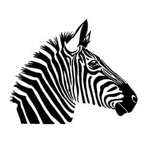 17*13.9CM Fashion Zebra Horse Pattern Cool Wild Animal Decal vinyl Car Sticker Black Silver CA-1101
