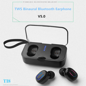 Bluetooth V5.0 Earphone T18 Touch Button Binaural Stereo In-ear Headset for iphone Samsung Mobile Phones add charge box
