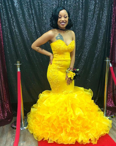 Sexy Plus Size African Black Girl Yellow Mermaid Prom Dresses Long Dubai Arabic Evening Gowns Formal Dress Party Dresses