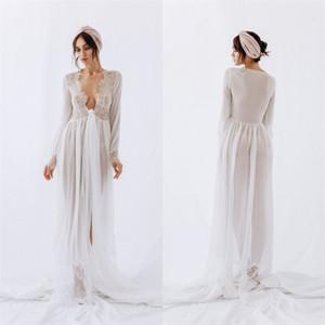 Sexy High V-образным вырезом Свадебные халатами с длинным рукавом шифон кружева Sheer Nightgown для женщин сшитое Поезд стреловидности Пижамы Bridal Мантия Дешевые