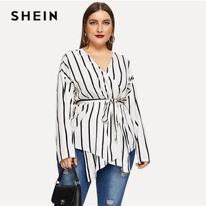 Shein Beyaz Asimetrik Artı boyutu V yaka Kuşaklı Çizgili Bluz Kadınlar 2019 Şık Bahar Uzun Kollu Highstreet Bluz Tops