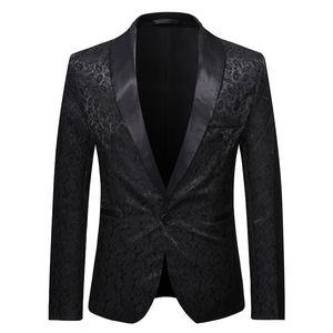 Mens Black Paisley Jacquard Blazer Jacket One Button Shawl Colalr Blazer Men Business Formal Dress Stage Banquet Costume
