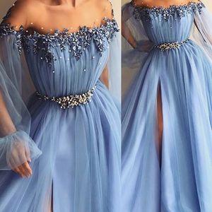 Fairy Sky Blue Prom Dresses Apliques Pearl A Line Jewel Poet Mangas largas Vestidos de noche formales Frente Split Tallas grandes vestidos de fiest