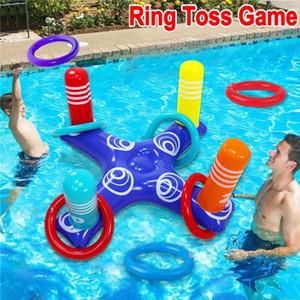 Kinder-Party-Spiel-Spielzeug Wasserschwimmer Zubehör Aufblasbarer Ring Toss Pool-Spiel spielt Schwimmender Pool Ring mit 4 PC-Ringe