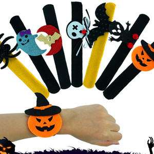 Creative Halloween Bracelet Pumpkin Ghost Plush Slap Snap Wristband Kids Adult Halloween Loop Decoration Halloween Toys TTA1561