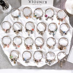 Europea di cristallo borda il nuovo DIY acciaio inossidabile fascino bracciali per le donne reali Beads Corona farfalla cuore girasole Tree House stella DHL
