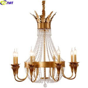 FUMAT K9 Crystal Iron Chandeliers Lamp Luxury Modern Style 3 6 8 12 LED Lights Gold Crown Molding Lights
