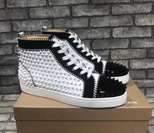 Plein baskets montantes dopés Red Bottom Sole Flats Chaussures pour hommes Sneaker sportifs Spikes en cuir verni luxe Concepteurs veau velours Orlato