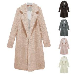 2019 Women Autumn Winter Warm Thicken Long Section Coat Faux Fur Jackets Lapel Teddy Cardigan Slim Plus Size Lamb Wool Outwear