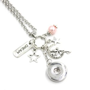 Venta al por mayor Snap Collar 18mm Snap Jewelry Fairy Necklace Star Dream Fairy Colgante Collar Snap Button Collares Regalos