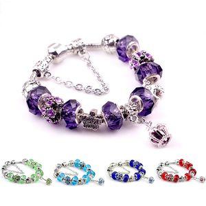 Crown Charm Bracelets Pandora Design Femmes Filles Je t'aime Lettre Vintage Argent Antique cristal de diamant perles bijoux pour les couples d'amoureux