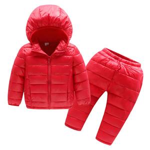 Çocuk Kış Giysileri Setleri 2 adet Kapüşonlu Pamuk-yastıklı Ceket + pantolon Bebek Erkek Kız Sıcak Parka Ceket Çocuklar Kış Kızlar Için Y190518