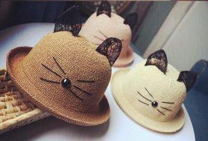 어린이 아기 고양이 귀 컬링 통기성 짚 모자 부모-아이 모델 컬링 성인 모자