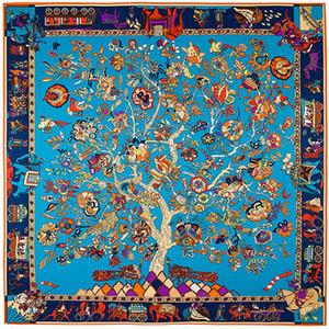 Квадратный шарф 2019 Luxury Brand саржевого шелковый шарф для женщин оголовье Женский Charm Life Tree Печать Большой площади шарфы Шелковый Шали Y191015