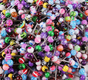 100 pcs Mixed Color Acrílico Língua Anel Do Parafuso Prisioneiro Para As Mulheres doce cor Piercing piercing na língua Anel Studs Barbell Jóias