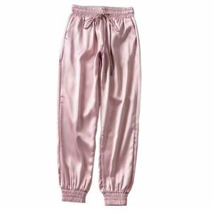 Designer Weibliche Sommer Satin Cargo Pants Frauen Europa lose beiläufige Sport Frauen Jogger Street Cargo Pants Women Größe XL