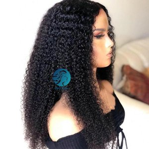 Bleached Knots Kinky Curly Full Lace Closure Wig Remy Brazilian Long 30 Inch For Women Black 250 Density Lace Wig Pre-plucked Hairline