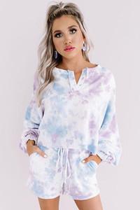 Sommer-freies für Pyjamas Tiedye für Damen Crew Neck Tie Dye Pyjama Short Sets Set Tie Dye Nachtwäsche Pyjamas Blumendruck Hotclipper