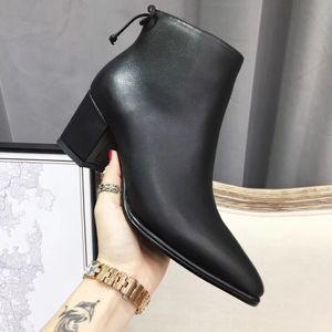 Sıcak Satış-siyah Boots Ayakkabı Tıknaz topuklu Süet deri Ayak bileği ayakkabı moda bayanlar yüksek kalitede parti çalışması moda botları 5.5cm topukluklar