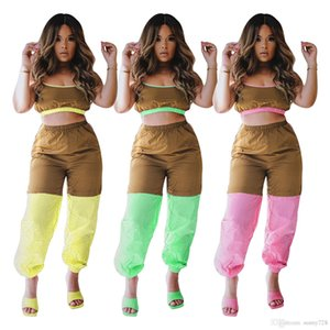 2020 Latest Contrast Colors Women Outfits Spring Summer Straps Copped Top Pants Fashion Two Pieces Suits Casual Tracksuits Summer Sports