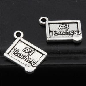 100pcs Gümüş Renk Theacher Günü Alaşım Charms En İyi Öğretmen İleti Charms kolye Takı Yapımı A2734