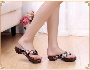 Горячая распродажа - Горящая павловния в японском стиле. Женские тапочки из гибискуса. Летние женские деревянные тапочки.