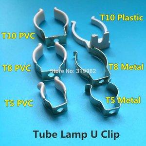 10 Pcs T5 T8 T10 plástico PVC metal U Clipe Wedge Tubo Titular base da lâmpada de aço com tampa branca de superfície para Led Luz Fluorescente